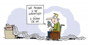 cartoon: we faxen u de wachtlijst